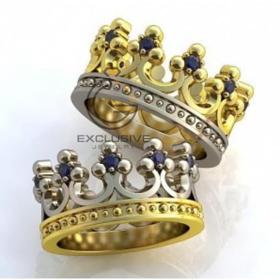 Золотые обручальные кольца короны