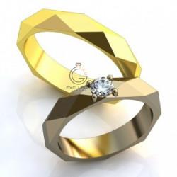 Дизайнерские обручальные кольца с бриллиантом