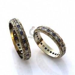 Кольца обручальные с дорожкой бриллиантов и сапфиров