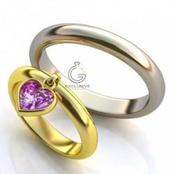 Золотое обручальное кольцо с аметистом