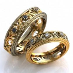 Золотые обручальные кольца с сапфирами и бриллантами