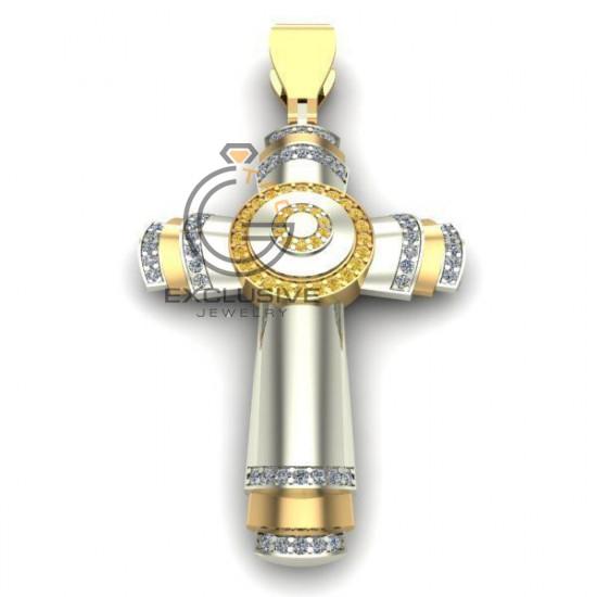 Золотой мужской крест с камнями