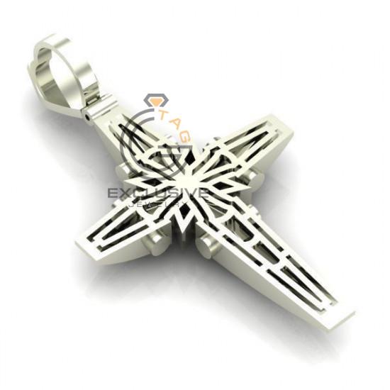 Мужской крест восьмиконечный с эмалью