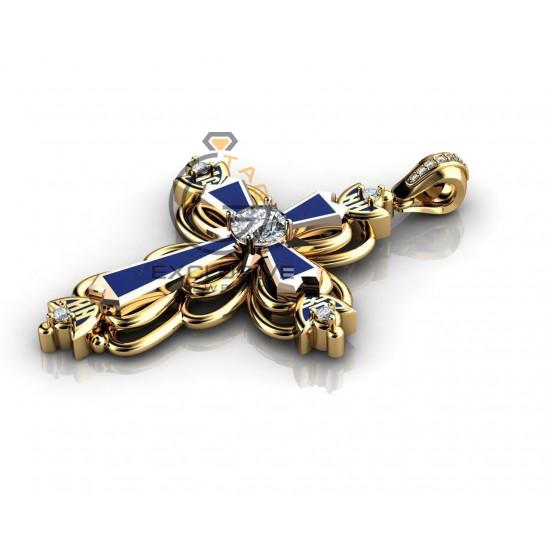 Мужской золотой крест с эмалью