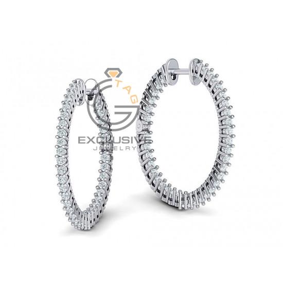 Женские круглые серьги с камнями
